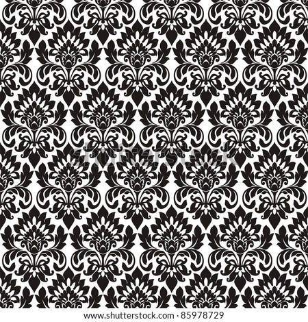 Seamless wallpaper pattern, black - stock photo