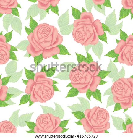 Seamless wallpaper pattern with roses. Watercolor roses - stock photo