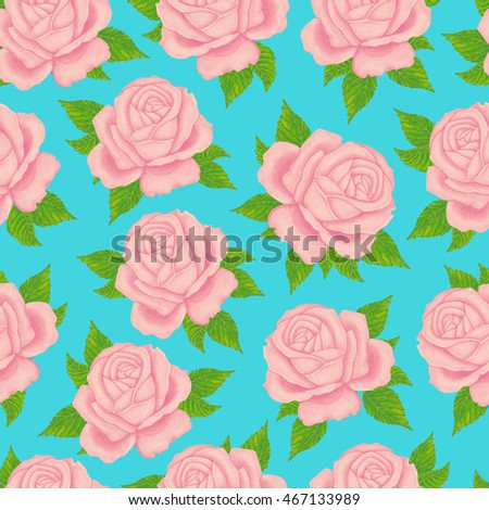 Seamless wallpaper pattern with roses. Watercolor roses