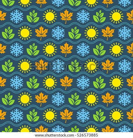 Seamless wallpaper pattern with seasons icons. Raster version