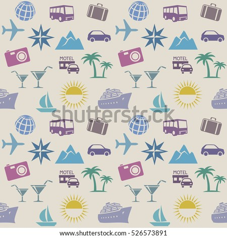 Seamless wallpaper pattern with travel icons. Raster version