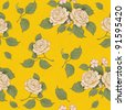 seamless wallpaper pattern with vintage beige rose on bright yellow background - stock vector