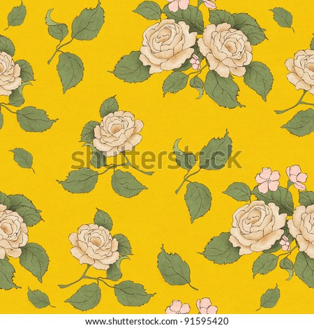 seamless wallpaper pattern with vintage beige rose on bright yellow background - stock photo