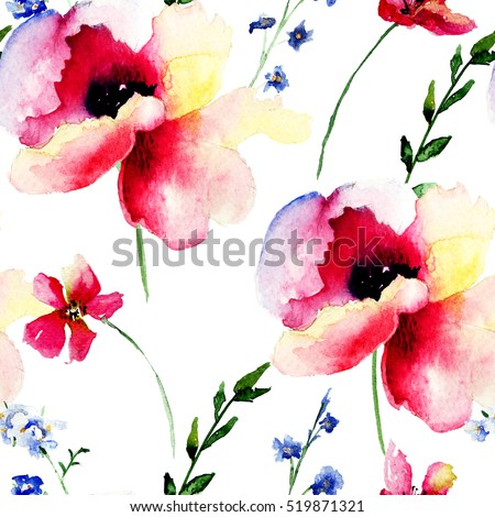 Seamless wallpaper with Beautiful Pink flowers, Watercolor painting