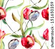 Seamless wallpaper with Beautiful Tulips flowers, Watercolor painting  - stock