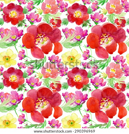 Seamless wallpaper with Colorful peony and rose flower, watercolor illustration - stock photo