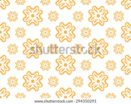 seamless wallpaper with floral pattern in orange - stock photo