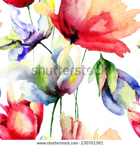 Seamless wallpaper with flowers, watercolor illustration