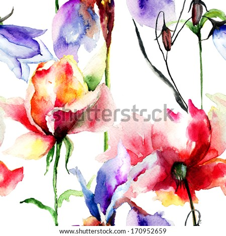 Seamless wallpaper with flowers, Watercolor painting