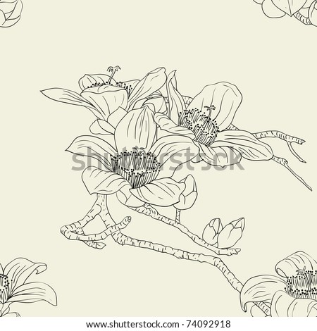 Seamless wallpaper with orchid flowers
