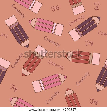 Seamless wallpaper with pencils - stock photo