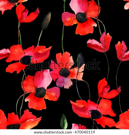 Seamless wallpaper with Poppy flowers, watercolor illustration