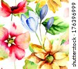 Seamless wallpaper with summer flowers, watercolor illustration - stock vector