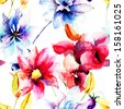 Seamless wallpaper with wild flowers, watercolor illustration  - stock