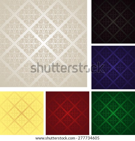 Seamless Wallpapers - Set of six colors. Raster version. - stock photo