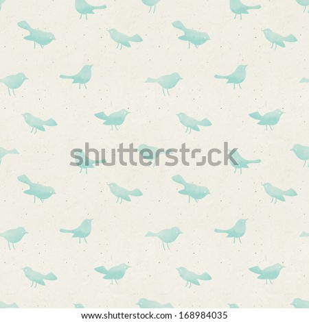 Seamless water-color birds pattern on paper texture. - stock photo