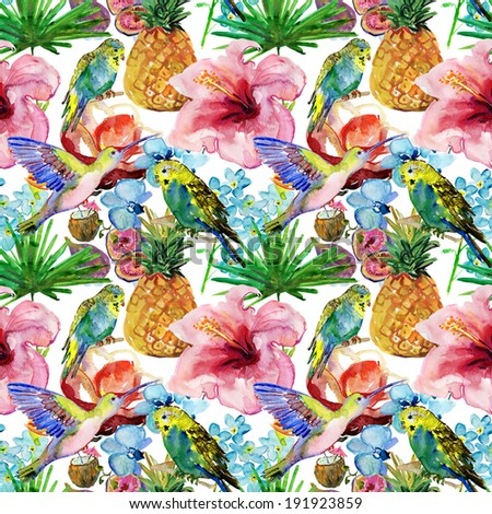 seamless watercolor background, flora tropical flowers, birds and leaves. - stock photo