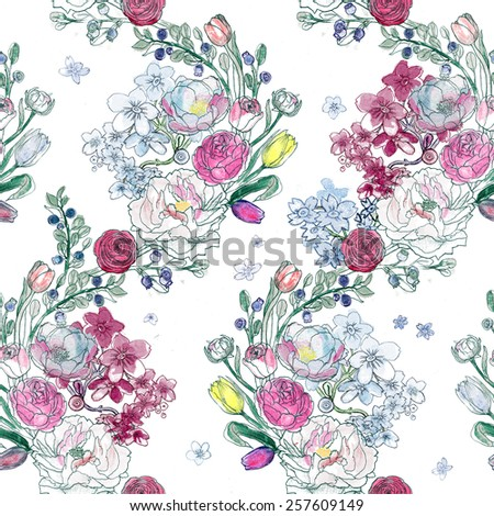 Seamless watercolor background. Floral wallpaper. Elegant aquarelle peony, ranunculus, blueberries, roses on white.
