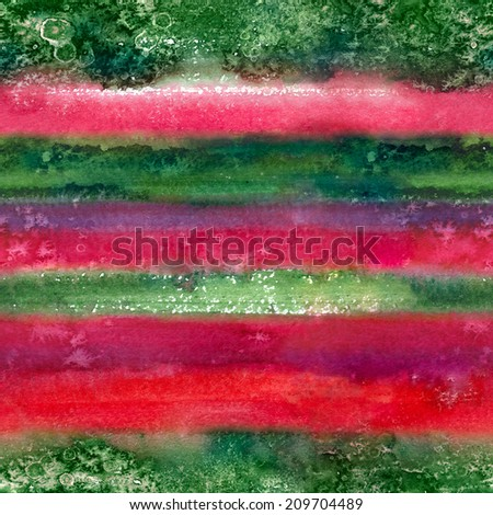 Seamless watercolor background in green and red colors of Christmas - stock photo