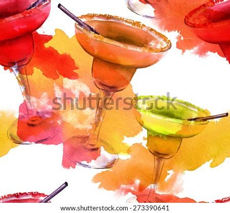 Seamless watercolor background pattern of bright Margarita cocktails of different tastes (strawberry, tamarind and lemon) with watercolor splashes - stock photo