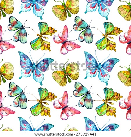 Seamless watercolor background with butterfly over white - stock photo