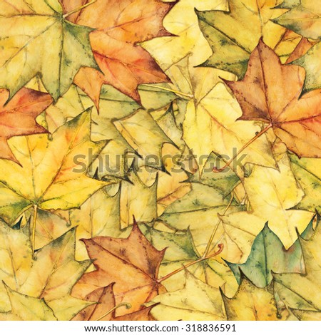 Seamless watercolor background with colorful maple leaves. Autumn ornament with floral pattern. Original leaves decor.  - stock photo