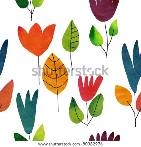 Seamless watercolor draw flowers background - stock photo