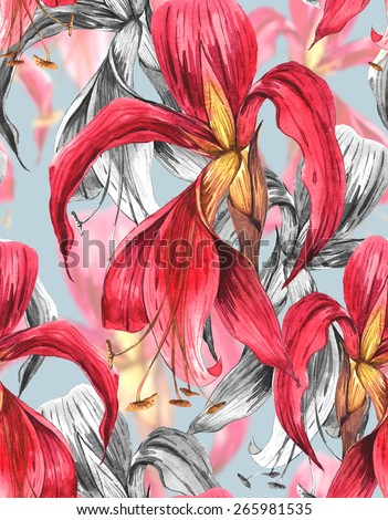 Seamless  Watercolor Exotic Tropical Flowers Background. Watercolor Illustration - stock photo