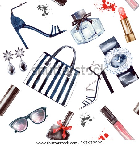 Seamless  Watercolor  fashion and  cosmetics  background  with   make up artist objects: ladies watch, handbag, nail Polish, jewelry, shoes,  perfume.  - stock photo