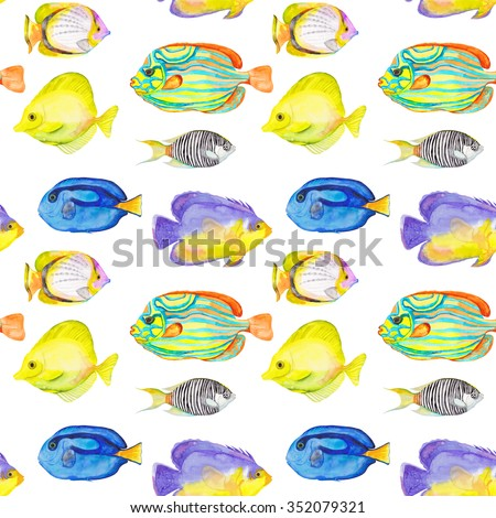 Seamless watercolor fish pattern. Endless texture. Hand draw. Shoal fishes. Yellow tang fish, Butterfly Fish, Purple Mask Angel Fish, Zebra Angel Fish, Blue Stripe Angel Fish, Blue Tang Angel Fish. - stock photo
