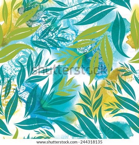 "Seamless watercolor floral pattern with hand drawn sketches (From my big ""Seamless collection"") - stock photo"