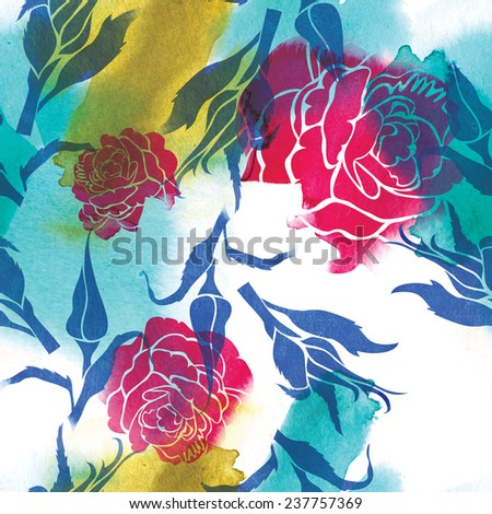 "Seamless watercolor floral pattern with leafs and roses (From my big ""Seamless collection"") - stock photo"