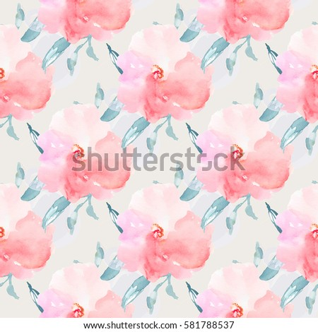 Seamless watercolor flower background pink flowers stock seamless watercolor flower background with pink flowers and teal blue leaves mightylinksfo