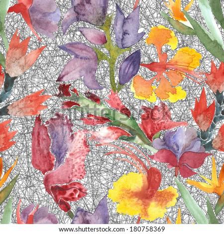Seamless watercolor flowers pattern - stock photo