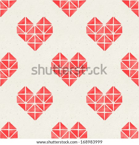 Seamless watercolor geometric heart pattern on paper texture. Valentine's day background - stock photo