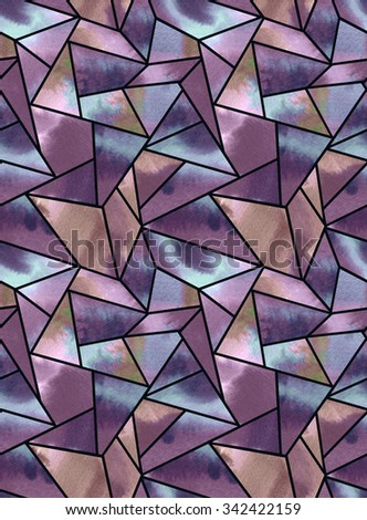 seamless watercolor geometric pattern. faceted surface with colorful background. Abstract geo in faded colors and muted palette, looks like jewels and crystals - stock photo