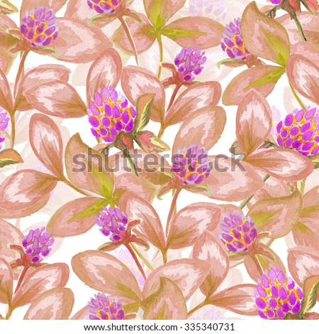 Seamless watercolor hand drawing clover leaves background. Colored clover texture. - stock photo