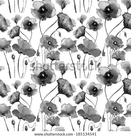 Seamless watercolor paintings. Grey flowers. Poppy - stock photo