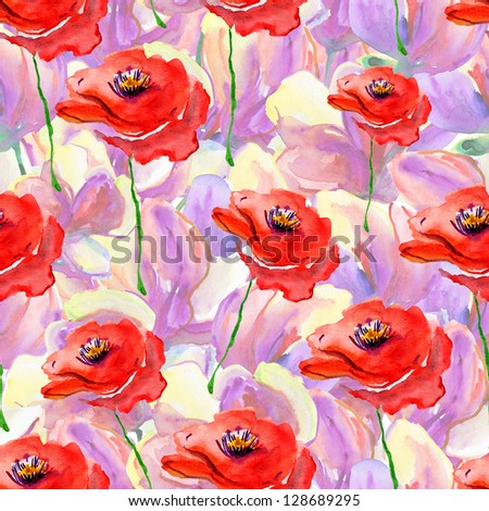Seamless watercolor paintings with flowers. - stock photo