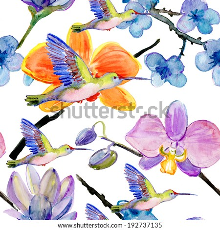 seamless watercolor pattern, flora tropical flowers and birds. - stock photo