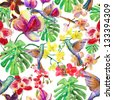 seamless watercolor pattern, flora  tropical flowers, birds and leaves. - stock vector