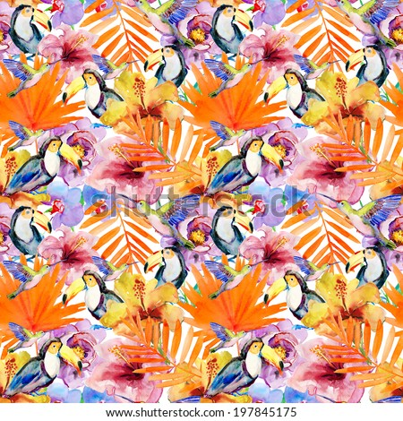 seamless watercolor pattern, flora tropical flowers, birds and leaves. - stock photo