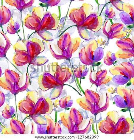 Seamless watercolor pattern. Magnolia and orchids, - stock photo