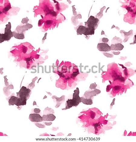 Seamless watercolor pattern of pink flowers and purple leaves on a white background. - stock photo