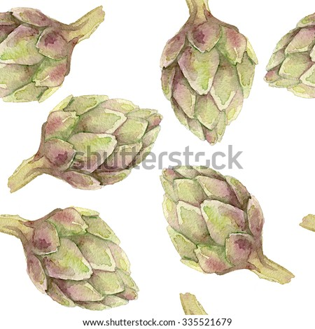 Seamless watercolor pattern with artichokes on a white background. - stock photo