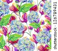 Seamless watercolor pattern with blue and pink flowers - stock vector