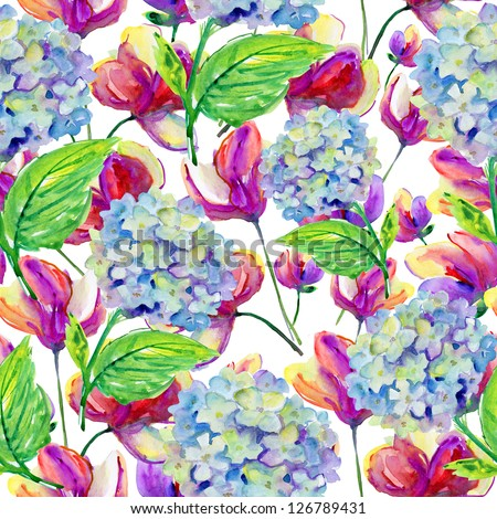 Seamless watercolor pattern with blue and pink flowers - stock photo