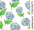Seamless watercolor pattern with blue flowers - stock vector