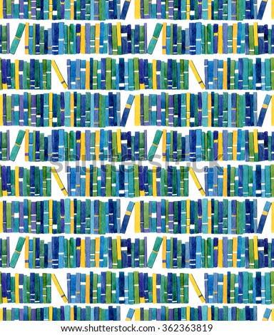 Seamless watercolor pattern with book - stock photo