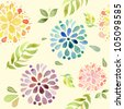 Seamless watercolor pattern with flowers on yellow background - stock vector